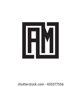 AM initial letters looping linked square monogram logo