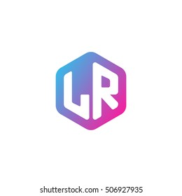Initial letters LR rounded hexagon shape blue pink purple simple modern logo