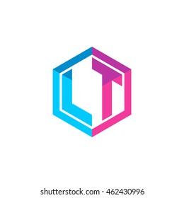 Initial letters LT hexagon box shape logo blue pink purple