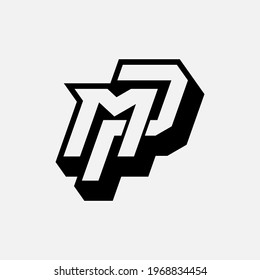 Initial letters M, P, MP or PM overlapping, interlocked monogram logo, black and white color on white background