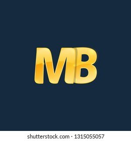 Initial letters MB, M, B with logo design inspiration gold metallic texture, trendy, 3d glossy texture, overlapping, based alphabet logo for media company identity, isolated on black background.