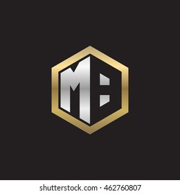 Initial letters MB negative space hexagon shape logo silver gold