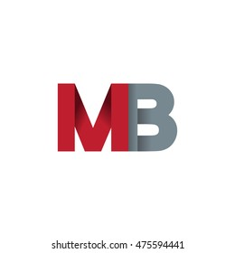 Initial letters MB overlapping fold logo red gray