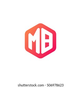 Initial letters MB rounded hexagon shape red orange simple modern logo