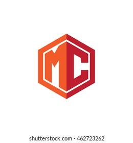 Initial letters MC hexagon shape logo red orange
