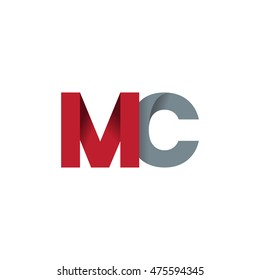 Initial letters MC overlapping fold logo red gray
