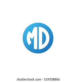Initial letters MD circle shape blue simple logo