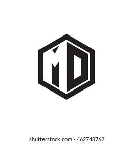Initial letters MD negative space hexagon shape monogram logo