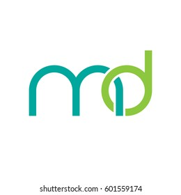 Initial letters md, round linked overlapping chain shape lowercase logo modern design modern green