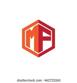 Initial letters MF hexagon shape logo red orange
