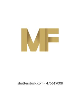 Initial letters MF overlapping fold logo brown gold