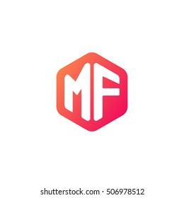 Initial letters MF rounded hexagon shape red orange simple modern logo
