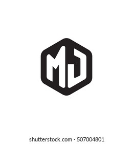 Initial letters MJ rounded hexagon shape monogram black simple modern logo