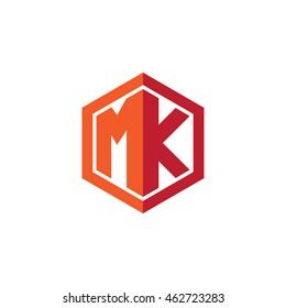 Initial letters MK hexagon shape logo red orange