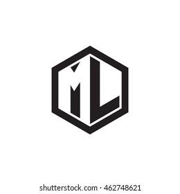 Initial letters ML negative space hexagon shape monogram logo