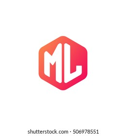 Initial letters ML rounded hexagon shape red orange simple modern logo
