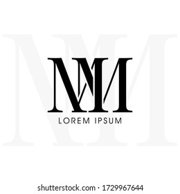 Initial letters mm linked monogram logo vector. Business logo monogram with two overlap letters inside circle isolated on white background.