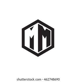 Initial letters MM negative space hexagon shape monogram logo