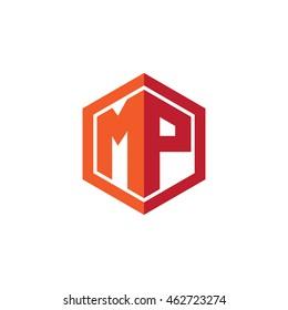 Initial letters MP hexagon shape logo red orange