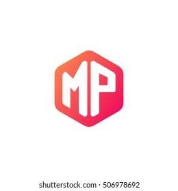 Initial letters MP rounded hexagon shape red orange simple modern logo