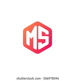 Initial letters MS rounded hexagon shape red orange simple modern logo