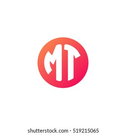 Initial letters MT circle shape red orange simple logo
