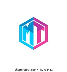Initial letters MT hexagon box shape logo blue pink purple