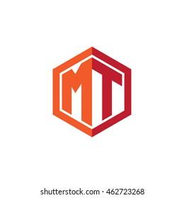 Initial letters MT hexagon shape logo red orange