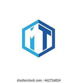 Initial letters MT negative space hexagon shape logo blue