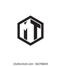 Initial letters MT negative space hexagon shape monogram logo