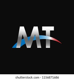 Initial letters MT overlapping movement swoosh logo, metal silver blue red color on black background