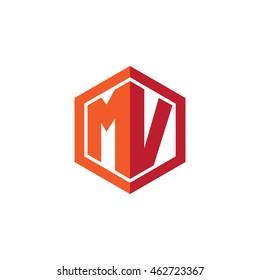Initial letters MV hexagon shape logo red orange