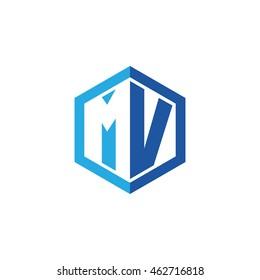 Initial letters MV negative space hexagon shape logo blue