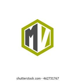 Initial letters MV negative space hexagon shape logo green black gray