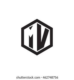 Initial letters MV negative space hexagon shape monogram logo