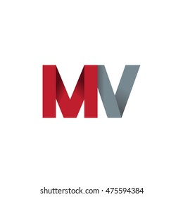 Initial letters MV overlapping fold logo red gray