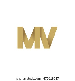 Initial letters MV overlapping fold logo brown gold