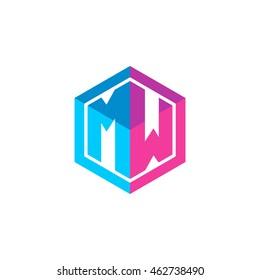Initial letters MW hexagon box shape logo blue pink purple