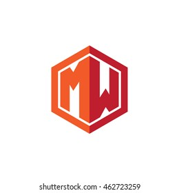 Initial letters MW hexagon shape logo red orange