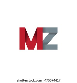 Initial letters MZ overlapping fold logo red gray