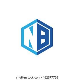Initial letters NB negative space hexagon shape logo blue