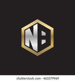 Initial letters NB negative space hexagon shape logo silver gold