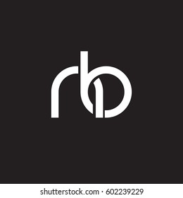 Initial letters nb, round overlapping lowercase logo modern design white black background