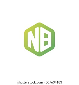 Initial letters NB rounded hexagon shape green simple modern logo