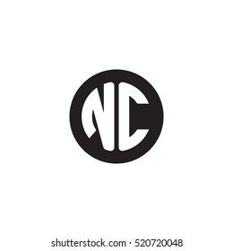 Initial letters NC circle shape monogram black simple logo