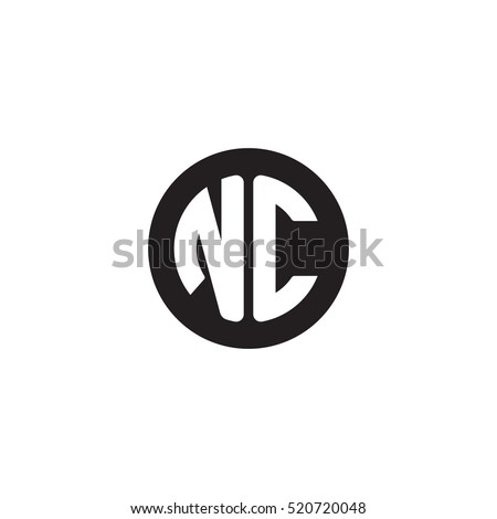Initial Letters NC Circle Shape Monogram Stock Vector Royalty Free