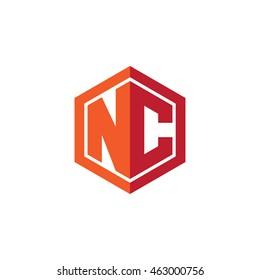 Initial letters NC hexagon shape logo red orange