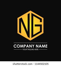 Initial letters NG hexagon shape logo design black gold