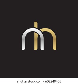 Initial letters nh, round overlapping lowercase logo modern design silver gold