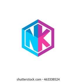 Initial letters NK hexagon box shape logo blue pink purple